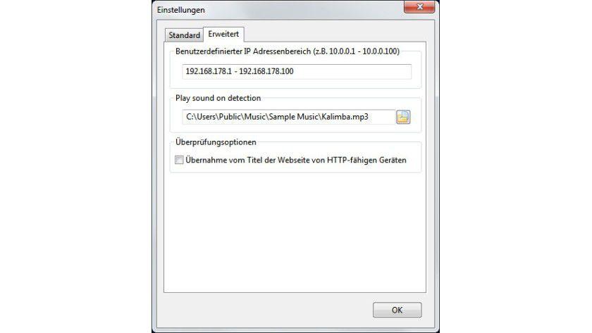 Benutzerdefiniert: Anstatt des automatisch vom Tool ermittelten IP-Bereichs lassen sich für die Netzwerkscans auch eigene Grenzen festlegen.