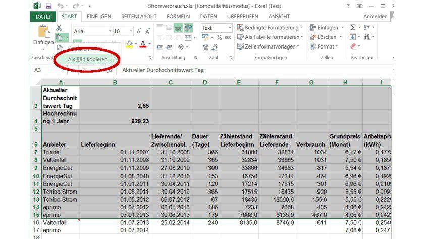 Excel Tabelle Berechnen Lassen : tipp f r microsoft office 2013 excel 2013 tabellen als bild in die zwischenablage bernehmen ~ Themetempest.com Abrechnung