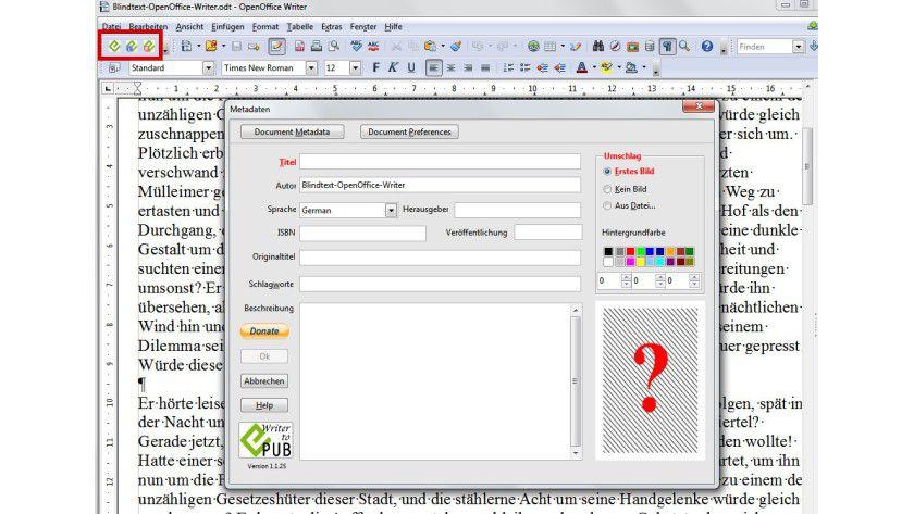 Eigene E-Books: Wenn Sie Writer2ePub mit Klick auf das Icon in der Symbolleiste (rot hervorgehoben) aufrufen, können Sie alle erforderlichen Daten eingeben.