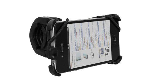 Das iPhone immer im Blick: Die praktische Halterung von Mumbi passt an die Lenkradstangen fast aller Zweiräder.