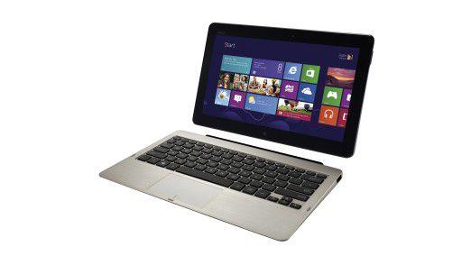 In einer mitgelieferten Ansteck-Tastatur wird das Tablet zum Notebook wie das Asus Vivo Tab.
