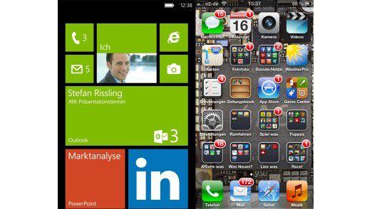 Windows Phone gegen iOS 6: Bei Apple glänzt und reflektiert die Oberfläche in allen Farben, Microsoft ist schlichter und liegt damit im Trend.