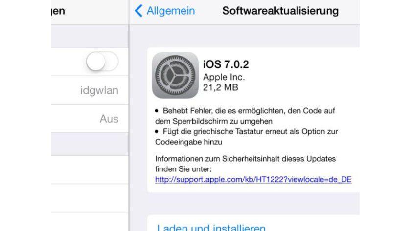 iOS 7.0.2 stopft Sperrbildschirm-Lücke (c) IDG/IDG