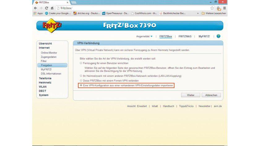 Die mit dem Fernzugangs-Tool von AVM erzeugten Konfigurationsdaten für den Fernzugriff per VPN über das Internet importieren Sie schließlich über die Bedienoberfläche in die Fritzbox.