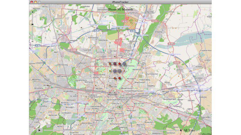 Ein Bewegungsprofil von iPhone Tracker. Die Punkte zeigen einzelne Standorte an.