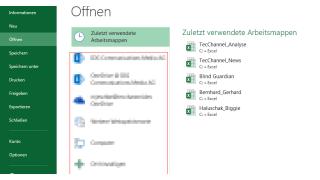 Excel: Einfacher auf Arbeitsmappen zugreifen