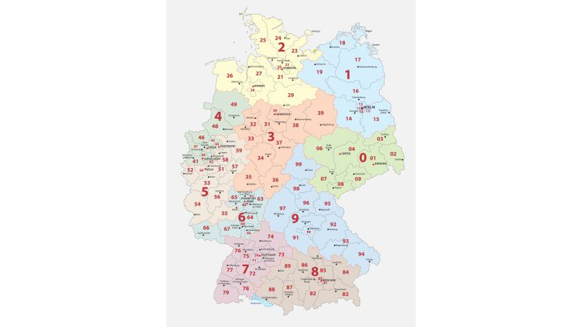 Deutschlandkarte mit Postleitzahlengebieten