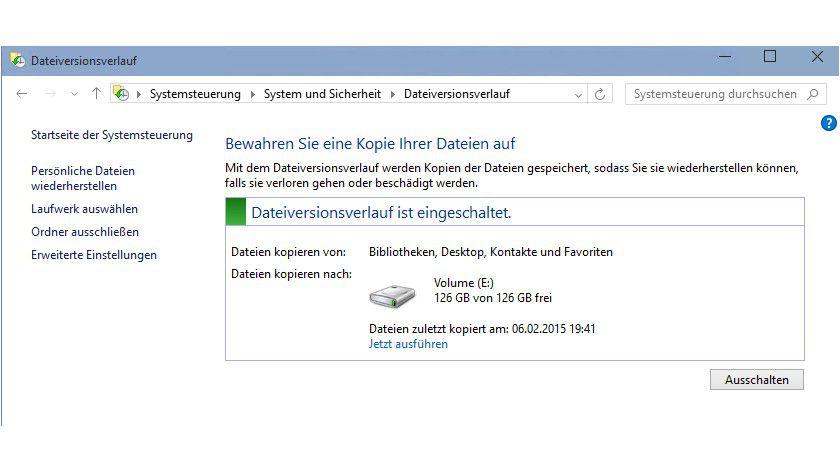 Nach der Installation von Windows sollten Anwender/Administratoren auch den Dateiversionsverlauf verwenden, wenn Dateien auch lokal gespeichert werden.