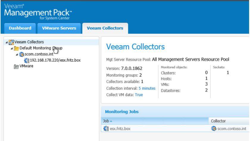Auf der Website des Veeam Management Packs stellen Sie zunächst eine Verbindung zu einem Veeam Collector her.