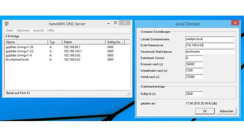 Der haneWIN-DNS-Server ist eine Shareware, die als DNS-Dienst auch auf Windows-Client-Betriebssystemen genutzt werden kann.