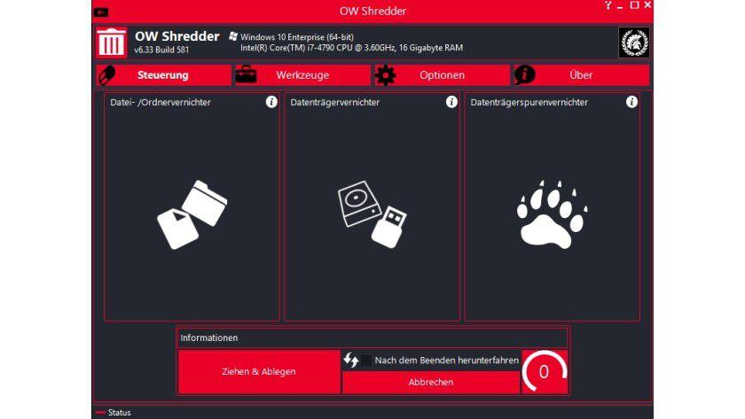 Mit OW Shredder können Sie Dateien, Ordner und ganze Laufwerke löschen.