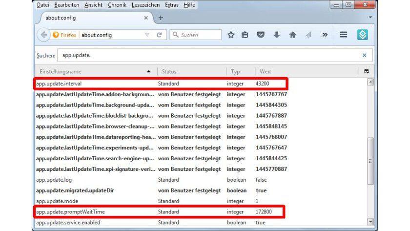 Update-Frequenz: Wie oft Firefox nach Aktualisierungen sucht und den Nutzer auf neue Versionen aufmerksam macht, lässt sich mit zwei Optionen bestimmen.