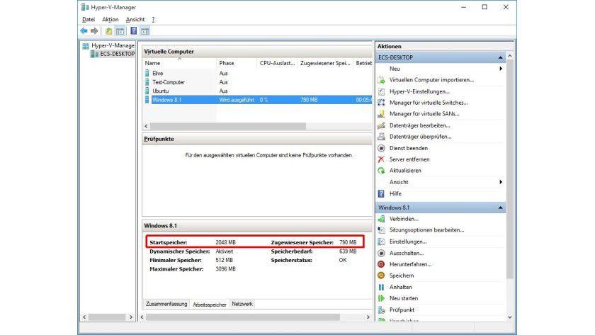 Speicherdetails: Der Hyper-V-Manager verrät, auf wie viel RAM eine VM zugreifen kann und wie viel ihr aktuell zugewiesen ist.