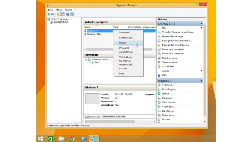 Der Hyper-V unter Windows 8.1: Wer den Hyper-V-Manager vom Windows Server her kennt, wird sich sofort zurechtfinden.