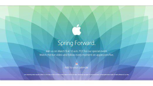 """Mit dem Motto """"Spring forward"""" (Uhren vorstellen) verweist Apple sicher nicht nur an den Beginn der Sommerzeit (8.3.) in den USA am Tag zuvor."""
