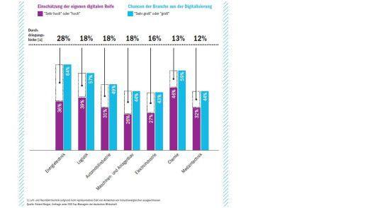 Die digitale Reife ist von Branche zu Branche höchst unterschiedlich, wie diese Zahlen von Roland Berger zeigen.