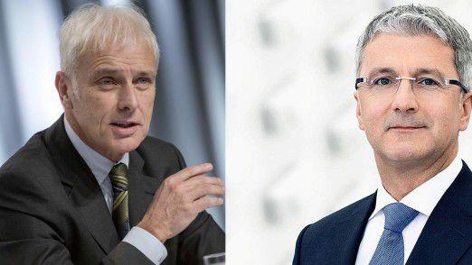 Ermittler haben Medienberichten zufolge bei VW-Chef Matthias Müller (links) und Audi-Chef Rupert Stadler nach Hinweisen gesucht.