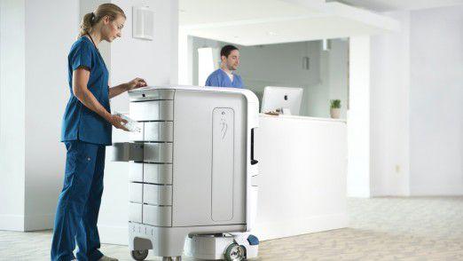 Der TUG Robot von Aethon bewegt sich autonom in Krankenhäusern, öffnet Türen und fährt Aufzug, um Medikamente zu bringen oder Essen zu verteilen.