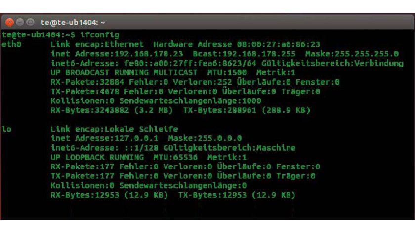 """Netzwerkadapter: Der Befehl ifconfig zeigt den Netzwerkadapter (""""eth0"""") und die zugehörige IP-Adresse an. Mit ping prüfen Sie die Erreichbarkeit einer Internetadresse."""