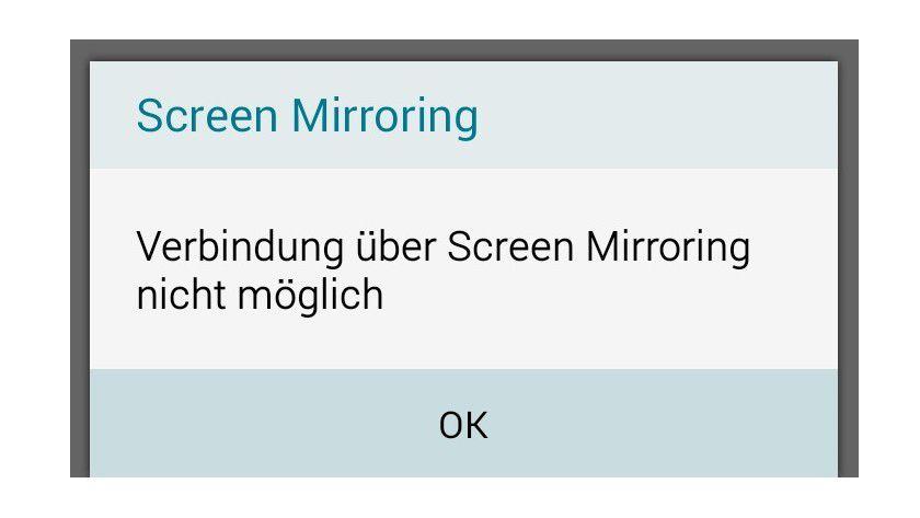 Nicht mit allen Android-Smartphones klappt die Verbindung: Das Galaxy A5 gibt diese Fehlermeldung aus.