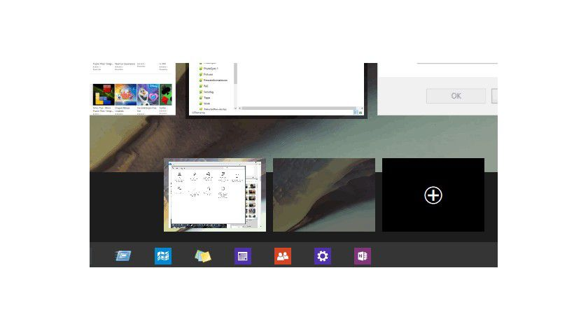 Auf der abgedunkelten Leiste unten im Fenster zeigt Windows 10 die verfügbaren virtuellen Desktops an.