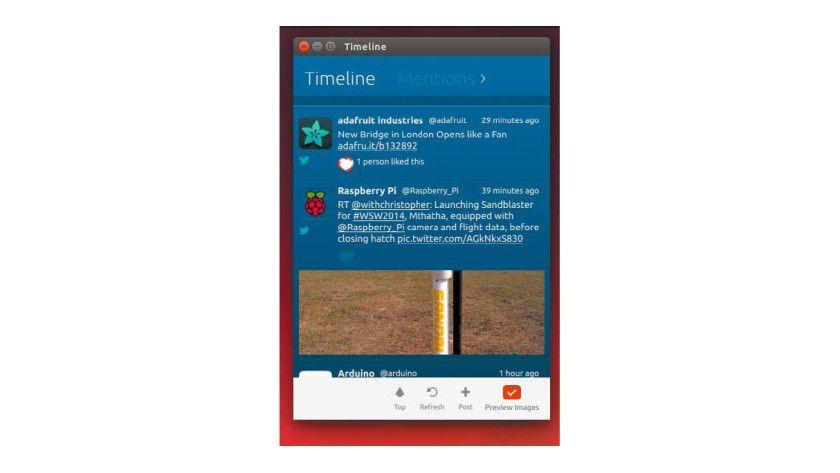Friends App sucht noch Freunde: Die App von Ubuntu 14.04/14.10 soll Gwibber als Twitter-Client in dieser Distribution ablösen, bietet aber vorerst nur einen Bruchteil dessen Funktionen.