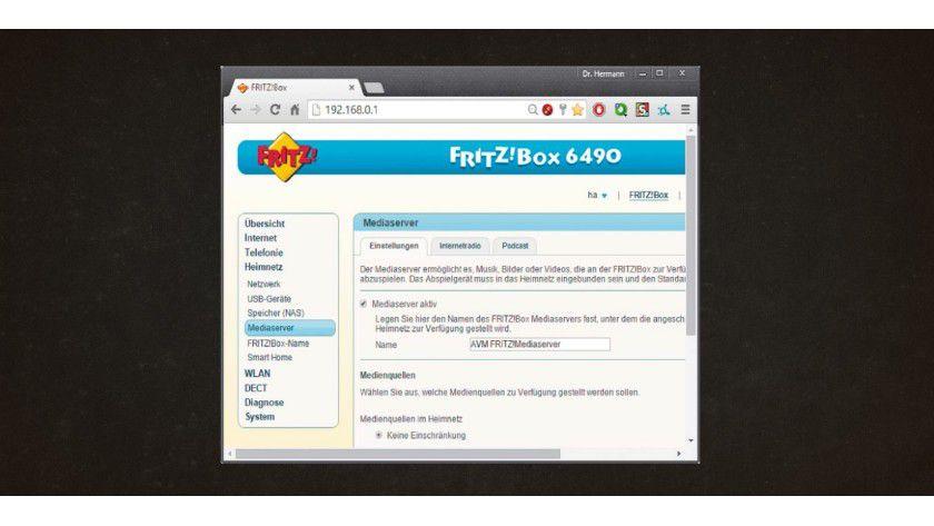 Praktische Router-Erweiterung: Mit einer am USB-Port angeschlossenen Festplatte wird die Fritzbox im Handumdrehen zum UPnP-Medienserver oder zum NAS-Datei-Server.
