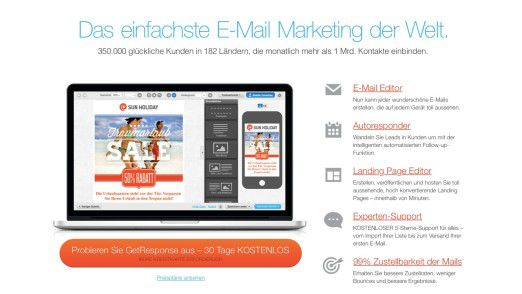 E-Mail-Marketing: GetResponse - Professionelle Newsletter im Browser erstellen - Foto: Diego Wyllie