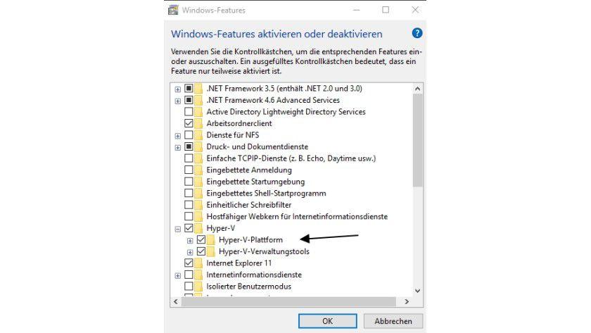Hyper-V installieren Sie in Windows 10 über die Installation zusätzlicher Features. Bevor Sie die Installation durchführen, müssen Sie aber im BIOS/UEFI die Virtualisierungs-Funktionen des Prozessors einschalten.