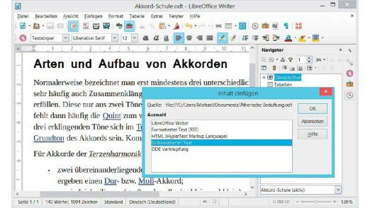 """Text ohne Formatierung: Soll beim Übernehmen von Textschnipseln aus Webseiten oder Layoutdokumenten in Libre Office Writer reiner Text ohne Schriftauszeichnung eingefügt werden, wählen Sie """"Bearbeiten > Inhalte einfügen""""."""
