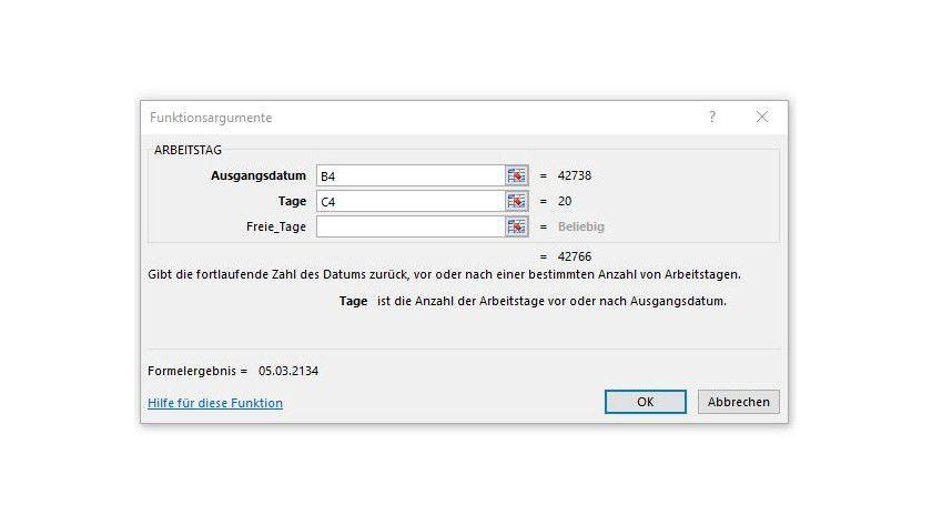 Mit Hilfe der Funktion ARBEITSTAG() aus der Kategorie Datum & Uhrzeit berücksichtigen Sie in Excel Wochenenden und freie Tage.