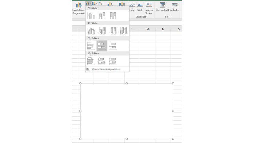 Über die Befehlsfolge Säulen und Balkendiagramm einfügen/2D-Balken/Gestapelte Balken legen Sie den Grundstein für Ihr Gantt-Diagramm.