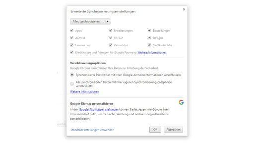 Nach der Anmeldung mit einem Google Konto lassen sich umfangreiche Synchronisierungsfunktionen in Google Chrome nutzen.