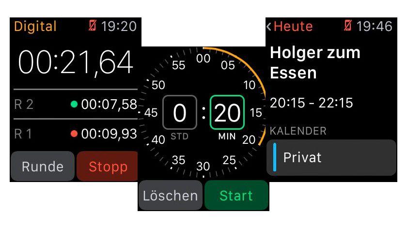Die Stoppuhr funktioniert ohne iPhone, wie auch Timer (Bild), Wecker und Weltuhr. Der Kalender merkt sich einfach den letzten Stand.