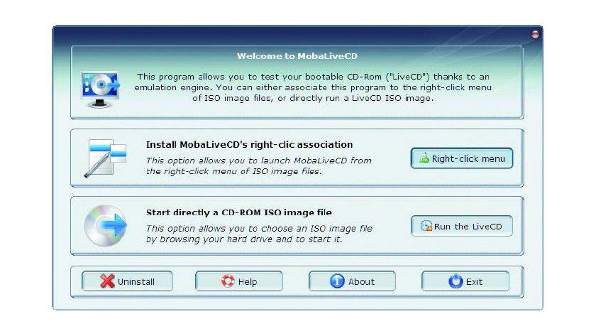 Moba Live-CD ermöglicht es Ihnen, die ISO-Abbilddatei einer Live-CD zu laden und auszuführen, ohne dass Sie das Image erst auf eine CD/DVD brennen müssen.