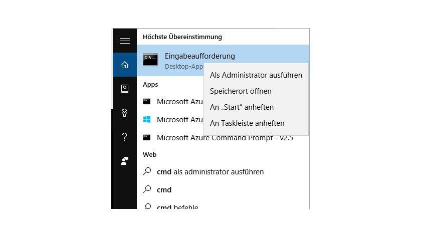 In Windows 8/8.1 und Windows 10 starten Sie die Eingabeaufforderung mit administrativen Rechten um einen bootfähigen USB-Stick zu erstellen.