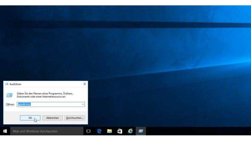 """Mittels eines """"Ausführen""""-Fenster (Windows-Taste + R) können Sie unter Windows 10 Professional und Enterprise den Editor für lokale Gruppenlinien starten."""
