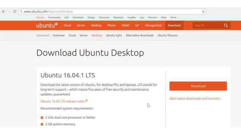 Im ersten Schritt laden Sie das Abbild von Ubuntu 16.04 LTS herunter.