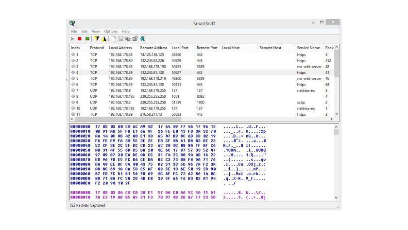 Nach wenigen Sekunden zeigt SmartSniff die Daten des Scanvorgangs an