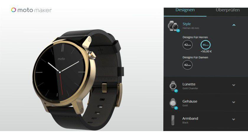 Im Moto Maker können Sie Ihre Motorola Moto 360 2. Gen designen.