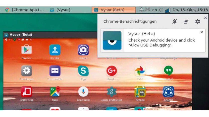 Vysor holt als App für den Browser Chrome/Chromium das angeschlossene Android-Gerät in ein Fenster.