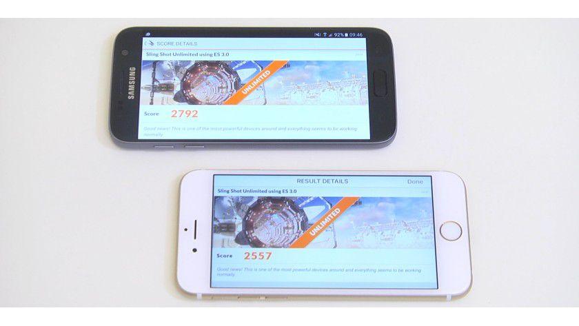 Im 3D Mark liegt das Galaxy S7 knapp vor dem iPhone 6s.