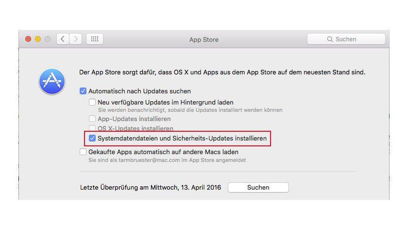 Der Mac App Store lädt regelmäßig Informationen über Malware nach - sofern das aktiviert ist.