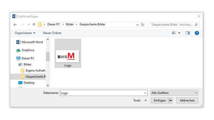 Über die Befehlsfolge Einfügen/Bilder/Einfügen stellen Sie in einem zuvor eingerichteten Textfeld ein Firmenlogo für jedes Dokument zur Verfügung, das auf der Vorlage basiert.