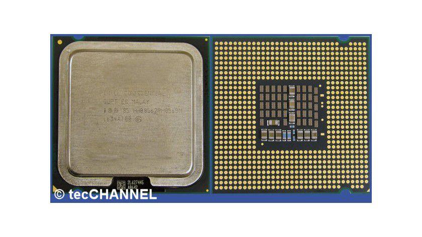 Core 2 Quad Q6600: Der Quad-Core-Prozessor mit 2,40 GHz Taktfrequenz setzt sich aus zwei Dual-Core-Dies zusammen. Die FSB1066-CPU für den Sockel LGA775 verfügt über insgesamt 8 MByte L2-Cache.