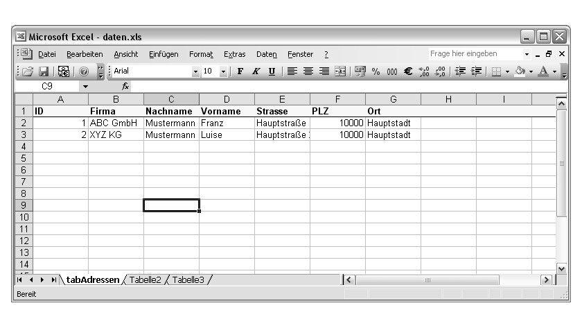 Bild 1: Aufbau der Excel-Tabelle.