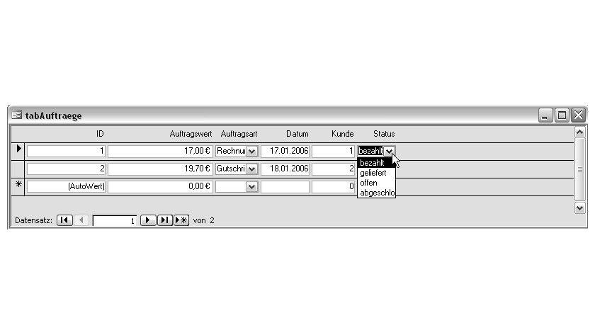 Bild 2: Aufbau des Formulars zur Anzeige der Aufträge.