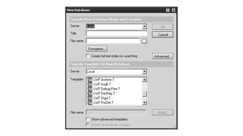 Bild 1: Die Auswahl der Vorlagen für die Lotus Workflow-Datenbanken.