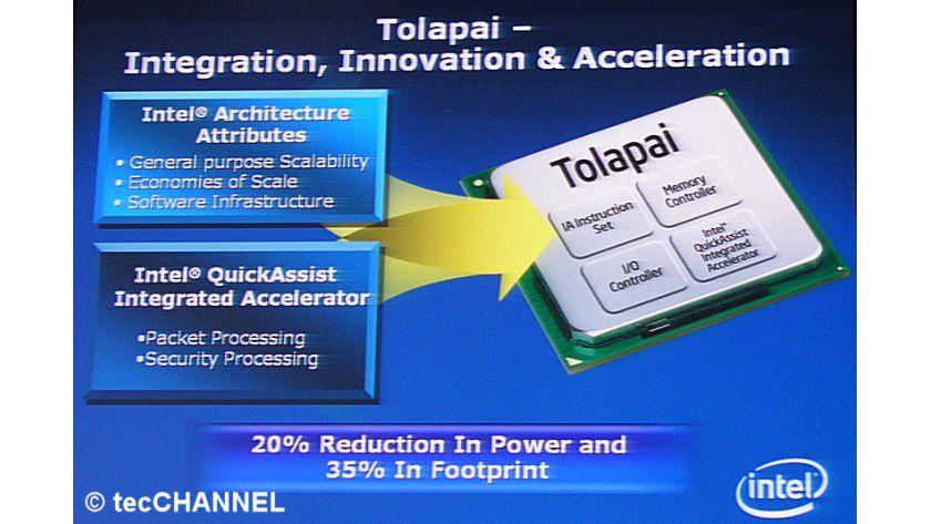 Integriert: Intels Tolapai vereint neben dem Prozessor noch drei weitere Systemkomponenten auf einem Chip.
