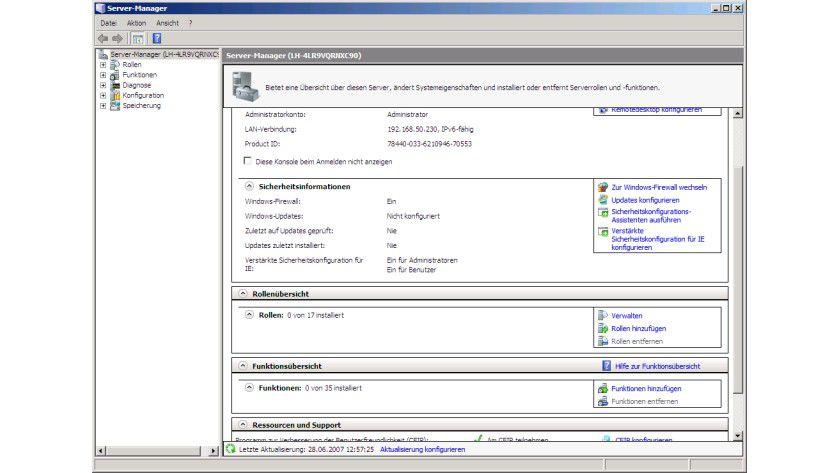 Übersichtlich: Der Server-Manager des Windows Server 2008 installiert neue Rollen und Funktionen.